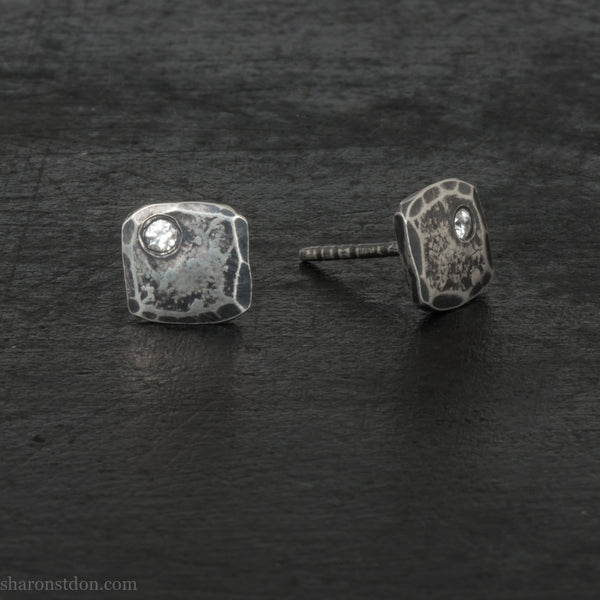 Small square sterling silver stud earrings | Antiqued with cubic zirconia gemstones | Gift for her