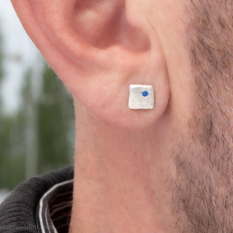 Small sterling silver stud earrings for men | Silver studs with lab grown blue sapphire gemstones | Eco conscious jewelry gift for him