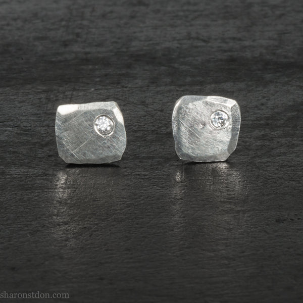 Small sterling silver stud earrings for men | Handmade tiny silver studs with cubic zirconia gemstones | Eco conscious jewelry gift for him