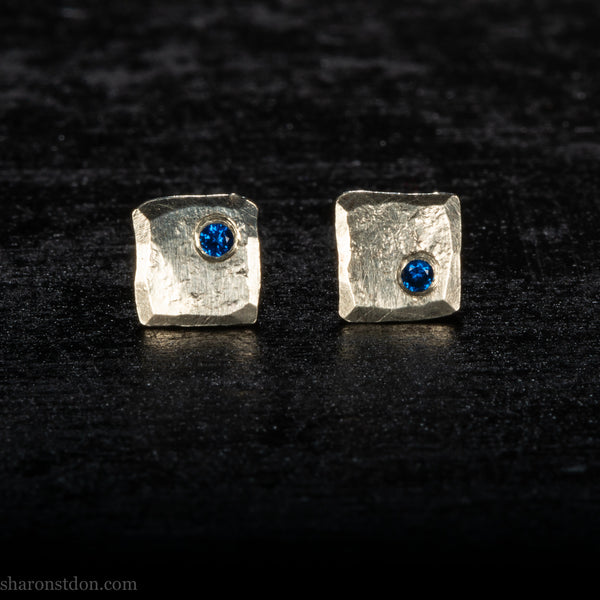 Small sterling silver stud earrings with lab grown blue sapphire gemstones | Handmade, unique, tiny silver studs for men or women