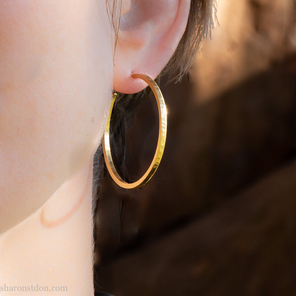 35mm solid 18k gold hoop earrings for women | Handmade solid gold hoop earrings | Sustainable, eco conscious jewelry gift for her