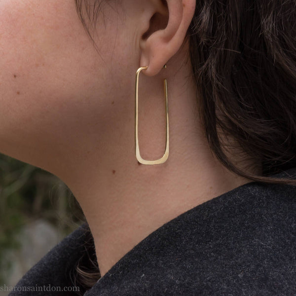 Large 18k solid gold hoop earrings | Long yellow gold hoops | Sustainable, handmade, eco conscious gift for her