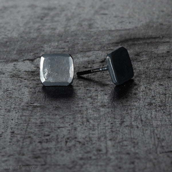 Oxidized black refinish surface for one pair of earrings - Sharon Saint Don Silver and Gold  Handmade Jewelry