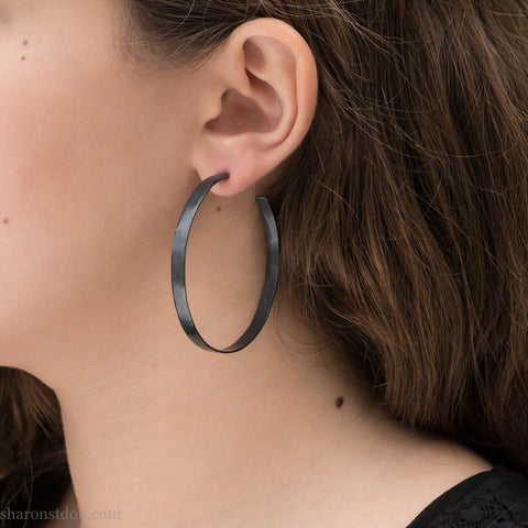 55mm large sterling silver hoop earrings for women | Oxidized black silver earrings | Hand made, sustainable, eco conscious gift for her