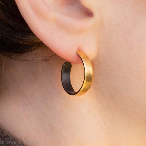 18mm small 22k gold hoop earrings | Handmade wide gold hoop earrings | Eco conscious, sustainable gift for her