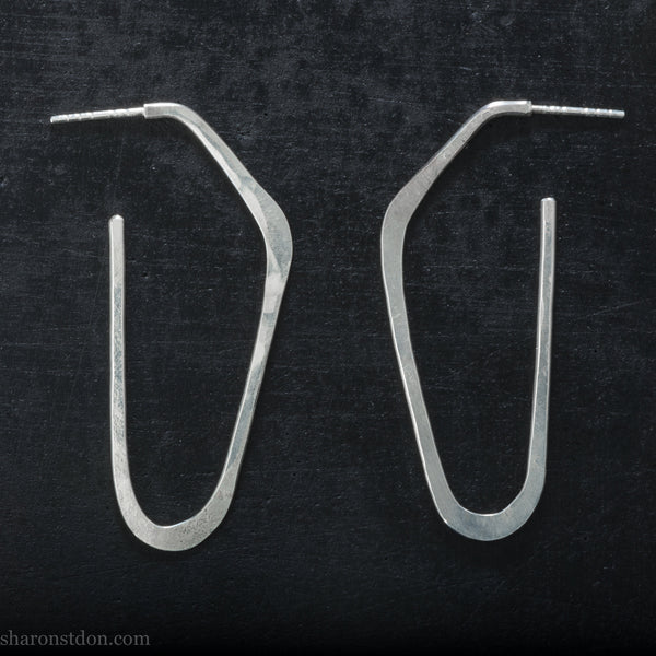 Long sterling silver hoop earrings for women | Shiny, high D shape | Hand made, sustainable, eco conscious gift for her