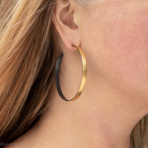 55mm large 22k gold hoop earrings for women | Handmade, unique, big gold hoop earrings | Sustainable, eco conscious jewelry gift for her
