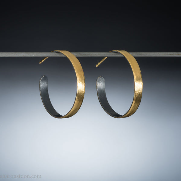 30mm 22k gold hoop earrings for women | Big, wide gold hoops | Eco conscious, handmade, sustainable gift for her