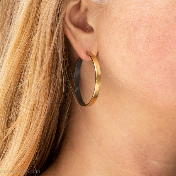 40mm gold hoop earrings for women | Large 22k gold round hammered hoops | Handmade, sustainable, eco conscious jewelry gift for her