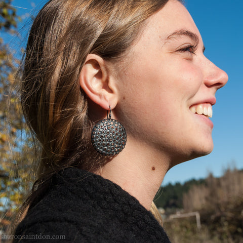 Large round sterling silver statement earrings | Handmade big silver circles with perforated holes | Sustainable, eco conscious jewelry