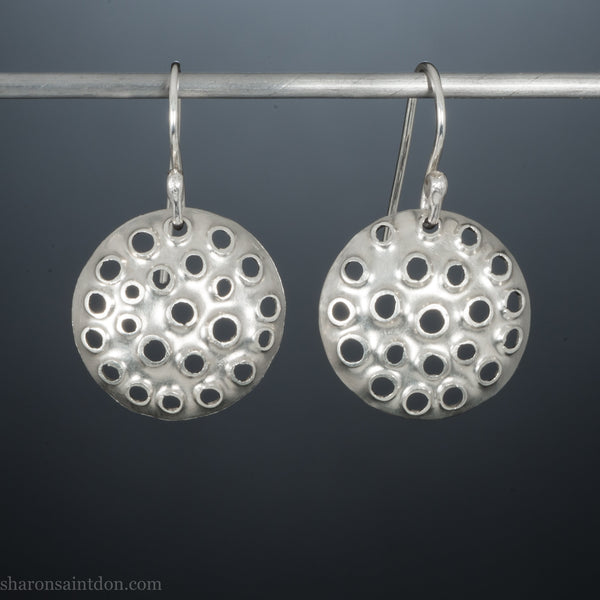 18mm, small, round, sterling silver dangle earrings | Handmade, tiny silver disc earrings with holes | Sustainable , eco conscious gift