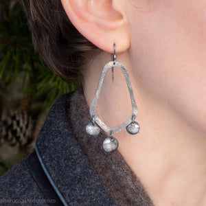 Long sterling silver chandelier earrings | Handmade, unique large earrings | Sustainable, eco conscious gift for her