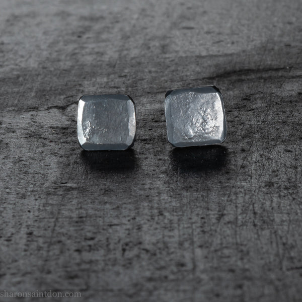 Small 7mm square sterling silver stud earrings | Hammered, oxidized black | Sustainable, eco conscious gift for him or her, men or women