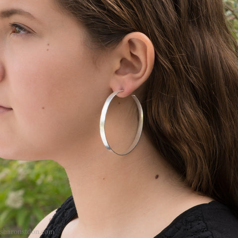 55mm, large, wide sterling silver hoop earrings for women | Hand made, sustainable, eco conscious gift for her