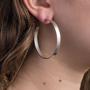 50mm sterling silver large hoop earrings | Hammered silver loops for casual daily wear | Handmade, sustainable, eco conscious gift for her