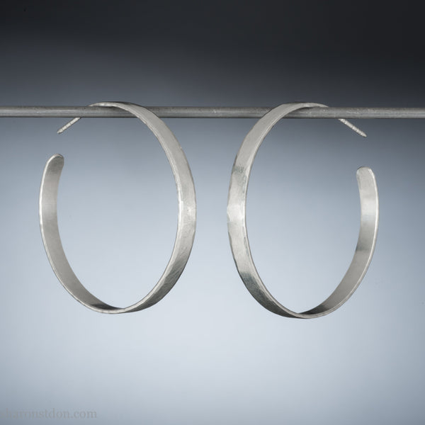 40mm large silver hoop earrings for women | Medium sterling silver, thick, wide hoops | Hand made, sustainable, eco conscious gift for her