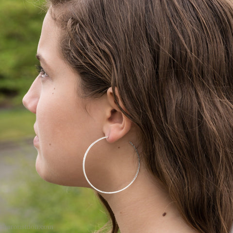 55mm large sterling silver hoop earrings for women | Lightweight big solid silver hoops | Hand made, sustainable, eco conscious gift for her