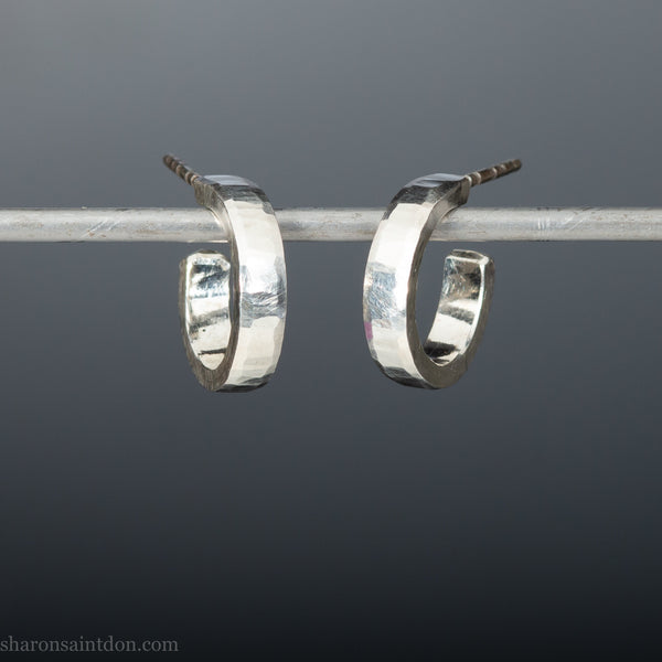 14mm x 3mm small sterling silver hoop earrings  | Handmade, sustainable, eco conscious gift for her