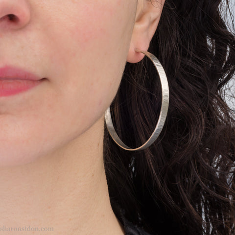 55mm, Wavy texture | Large solid sterling silver hoop earrings for women | Handmade, sustainable, eco conscious gift for her