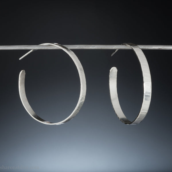 40mm large silver hoop earrings for women | Big, round, solid sterling silver hoops | Hand made, eco conscious gift for her.