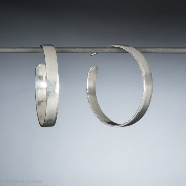 30mm sterling silver hoop earrings for women | Hammered solid silver wide hoops | Handmade, eco conscious gift for her