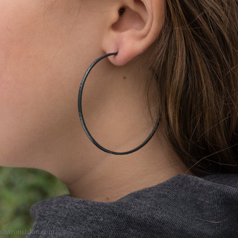 55mm, large sterling silver hoop earrings | Black,  minimalist hoop earrings  |