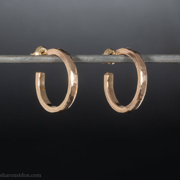 18mm x 2mm small solid 14k gold hoop earrings for men or women | Solid hammered gold | Handmade, unique, sustainable gift for him or her.