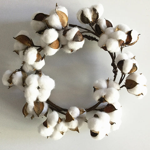 "1pc 10"" Dried Flower Small Cotton Boll Wreath - Primitive Door Wall Decoration"