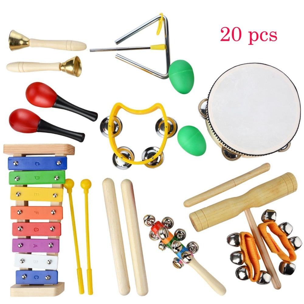 20 PCS Toddler Wooden Percussion Set With Case - Music Education Toys