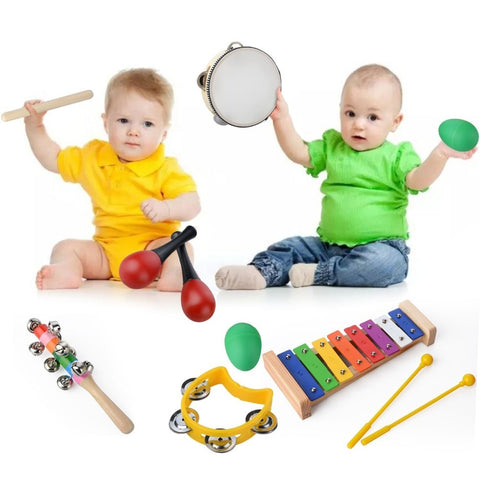 Image of 20 PCS Toddler Wooden Percussion Set With Case - Music Education Toys
