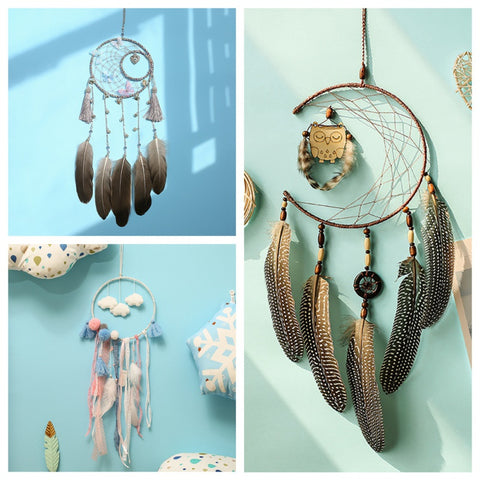 Image of Colorful Big Feathers Handmade Dream Catcher With Wind Chimes