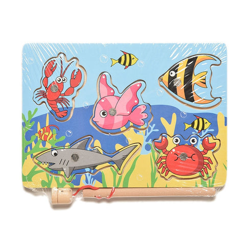 Image of Children's Fishing Game & Wooden Ocean Jigsaw Puzzle