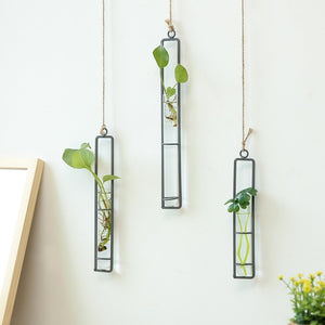 Iron Hanging Glass Bonsai Flower Wall Decorations