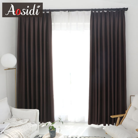 Custom Made Modern Blackout Curtains for Living Room or Bedroom Window Solid Color