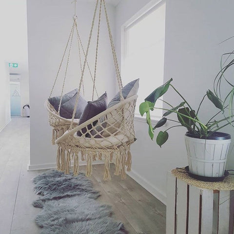 Image of Nordic Style Handmade Knitted Round Hammock