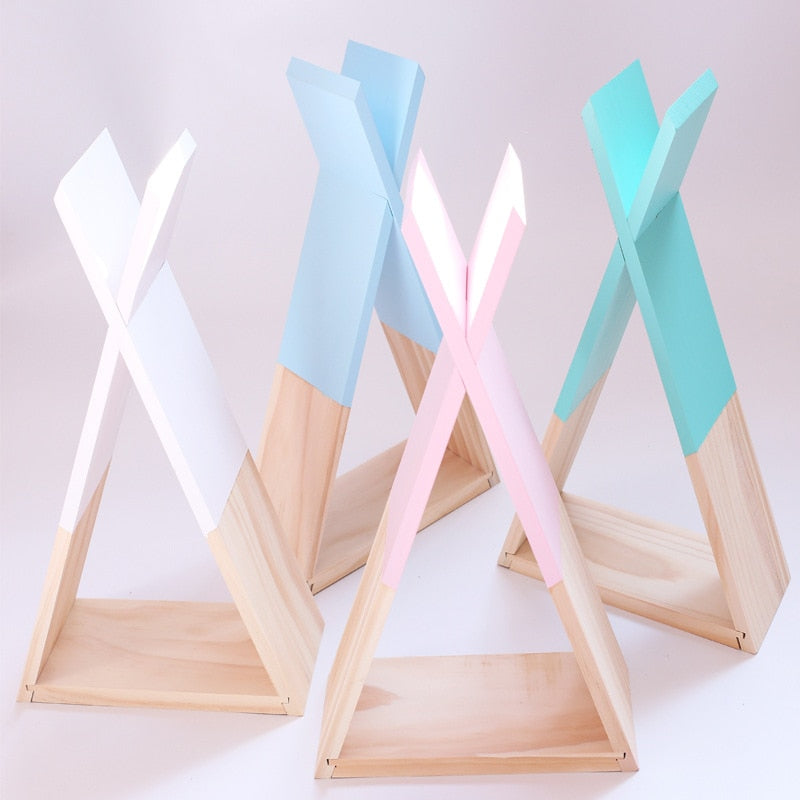 Nordic Style Wooden Hanging Triangle Shelf For Kids Room