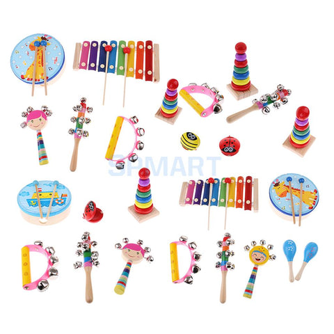Image of Wooden Educational Percussion Drums and Bell Musical Instrument Set For Kids