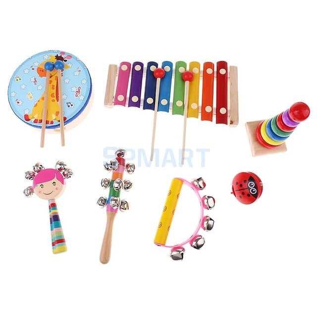 Wooden Educational Percussion Drums and Bell Musical Instrument Set For Kids