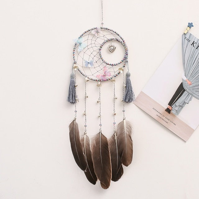 Colorful Big Feathers Handmade Dream Catcher With Wind Chimes