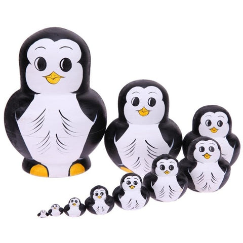 10pcs/Set Penguin Pattern Russian Matryoshka Dolls Handmade Basswood