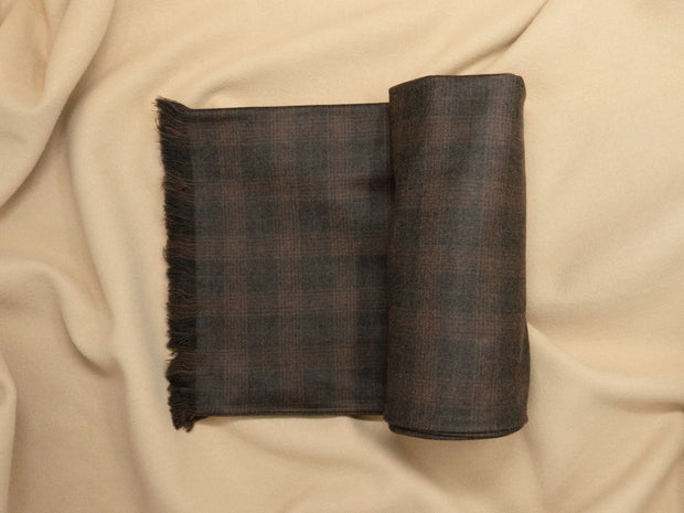 Umber Brown Plaid Tweed Scarf