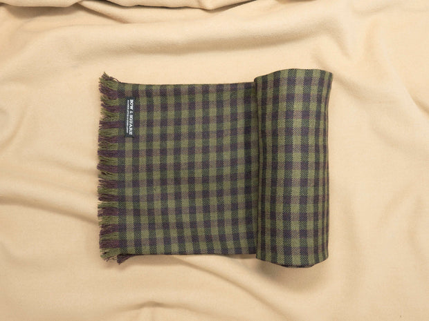 Olive Green & Wine Plaid Tweed Scarf