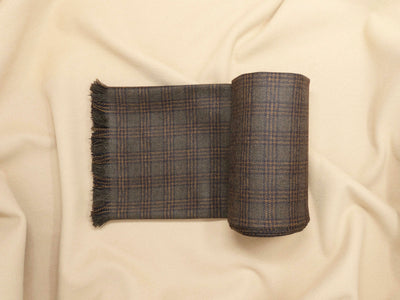 Coffee Brown Plaid Tweed Scarf