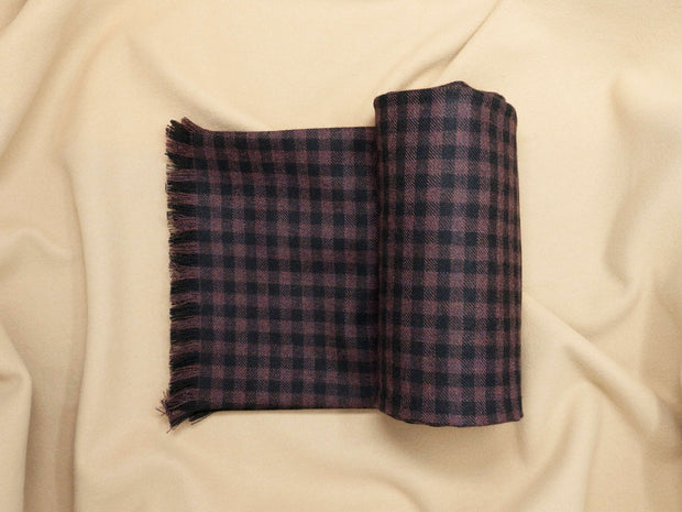 Black & Wine Plaid Tweed Scarf