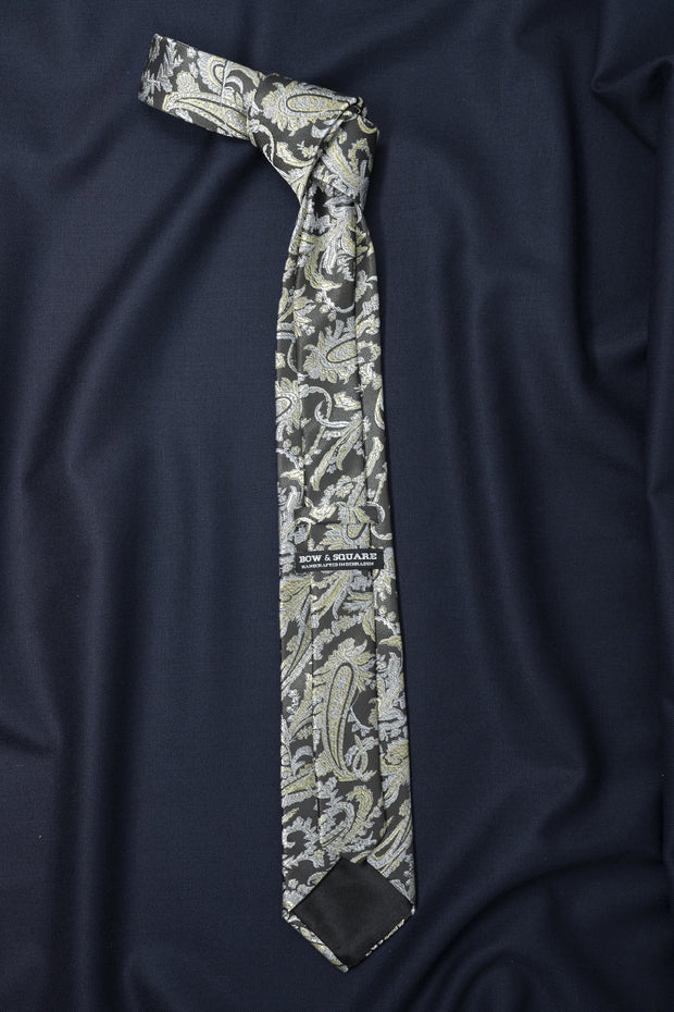 Regal Grey Paisley Necktie