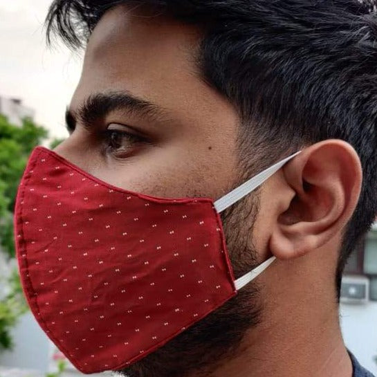 3 Layered Printed Red Cotton Mask (Pack of 2, 3 or 5)