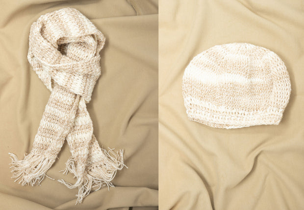 Oatmeal Crochet Scarf and Cap