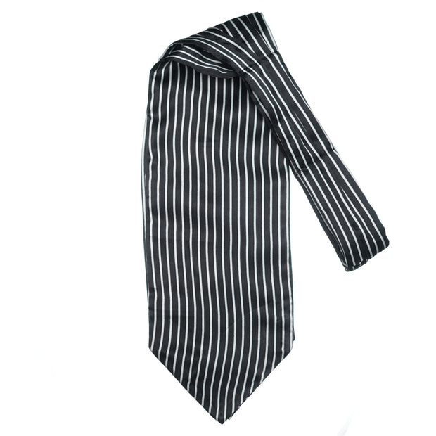 Monochrome Striped Black Cravat