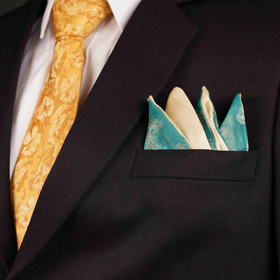 After 8  Geometric Green Pocket Square