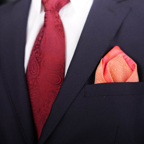 Regal Net Orange Pocket Square
